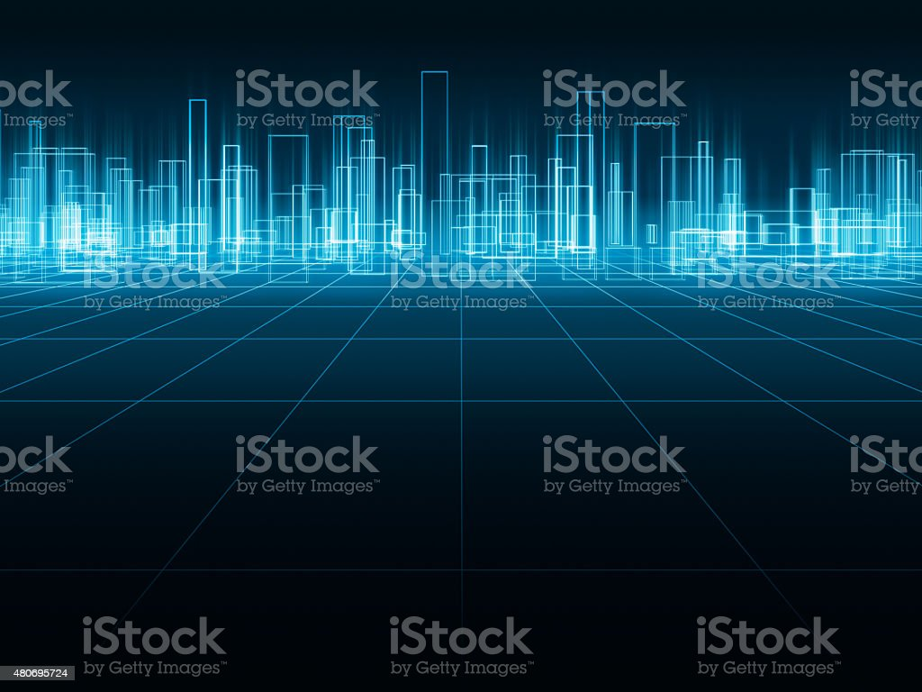 Holographic city stock photo