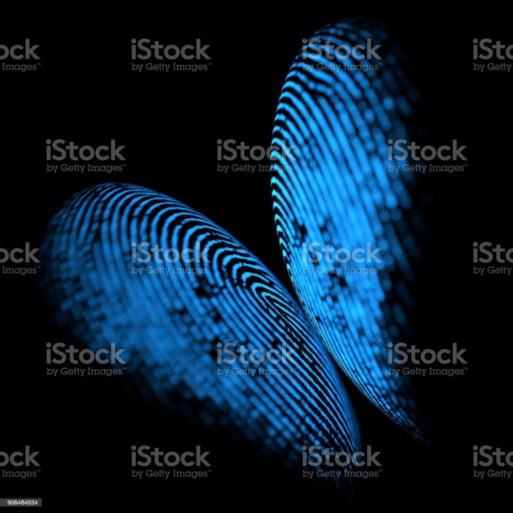 Holographic Fingerprint Butterfly Shape stock photo