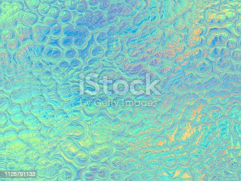 istock Holographic foil Background Multi Colored Pearl Bubble Abstract Reptile Chameleon Dinosaur Lizard Snake Skin Texture Ombre Gradient Color Mint Blue Teal Green Turquoise Yellow Circle Sea Water Surface Wave Pattern Pastel Neon Wallpaper 1125791133