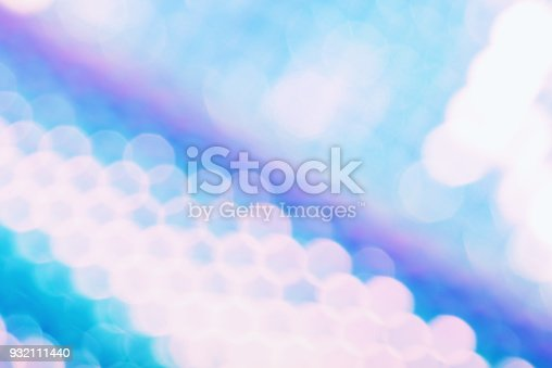 istock Holographic foil background with trendy holo color style and sparkly bokeh light effect 932111440