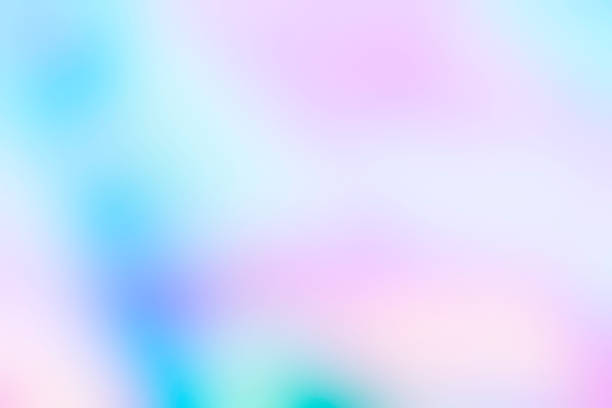 Holographic foil blurred abstract background in pastel neon trendy color design stock photo