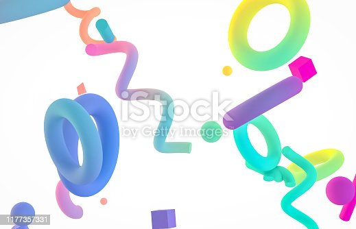 istock Holographic geometric shape form floating on white isolated background. 1177357331