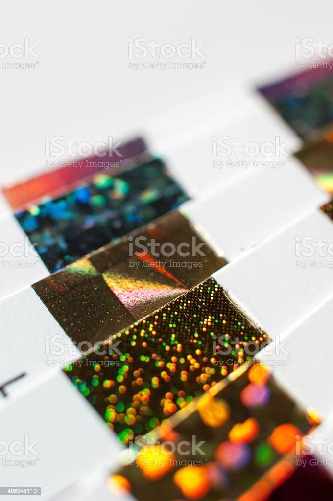 Holographic hot stamping foil palette royalty-free stock photo