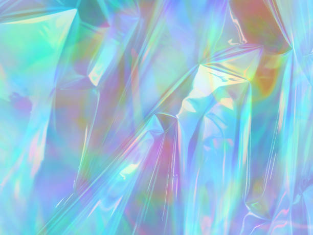 holographic iridescent surface of wrinkled foil - hologram stock photos and pictures