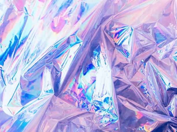虹色に輝くホログラムのしわ箔 - ホログラム ストックフォトと画像