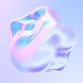 Holographic liquid metal 3D shape. dynamic fluid bubbles covered by holographic foil. Trendy design element. 3d rendering.