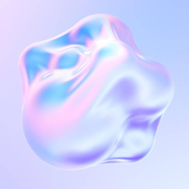 holographic liquid metal 3d shape fluid bubbles - ologramma foto e immagini stock