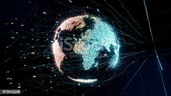 875541992 istock photo Holographic planet earth. technological background. 875540238