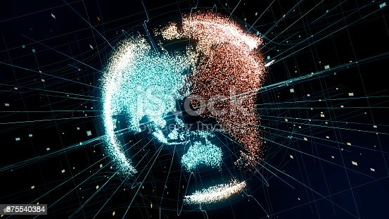 875541992 istock photo Holographic planet earth. technological background. 875540384