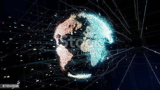 istock Holographic planet earth. technological background. 875540506