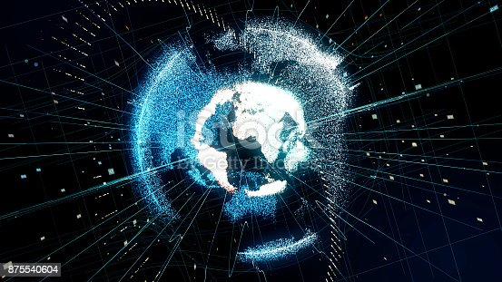 875541992 istock photo Holographic planet earth. technological background. 875540604