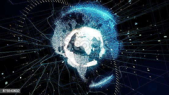istock Holographic planet earth. technological background. 875540632