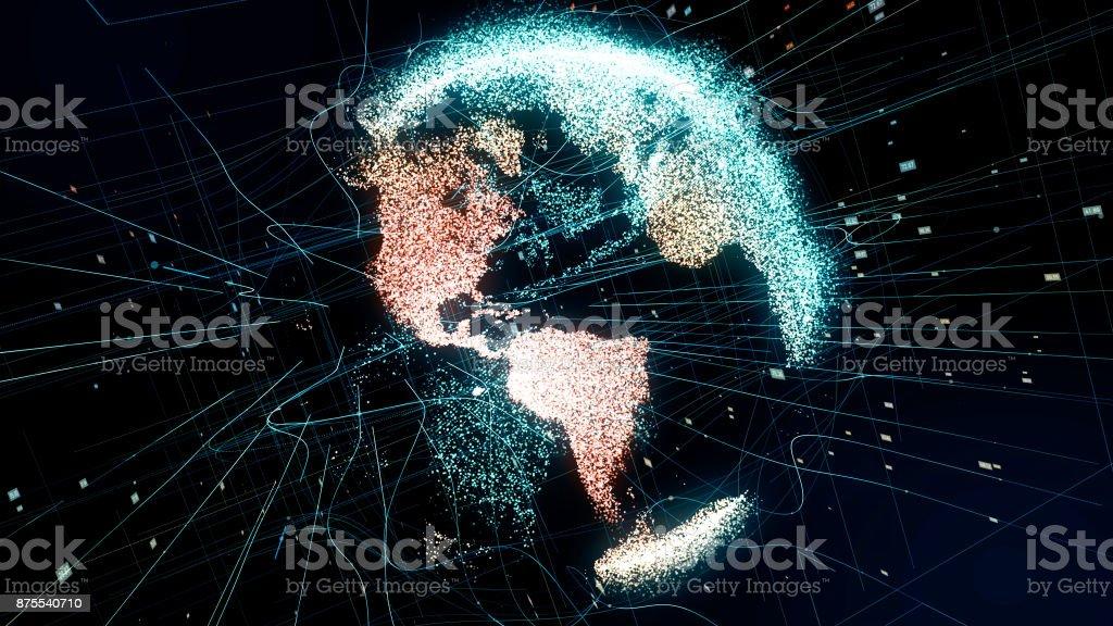 Holográfica do planeta Terra. Fundo tecnológico. - foto de acervo