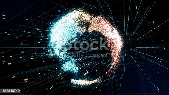 875541992 istock photo Holographic planet earth. technological background. 875540740