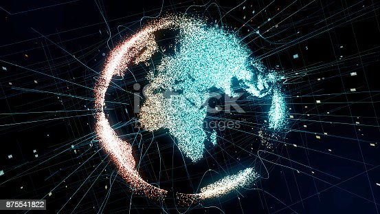 875541992 istock photo Holographic planet earth. technological background. 875541822