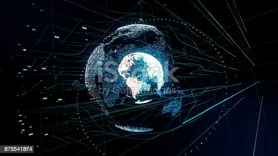 istock Holographic planet earth. technological background. 875541874