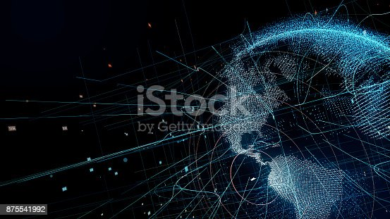 875541992 istock photo Holographic planet earth. technological background. 875541992