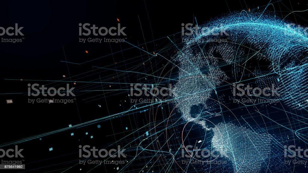 Holographische Planetenerde. technologischer Hintergrund. – Foto