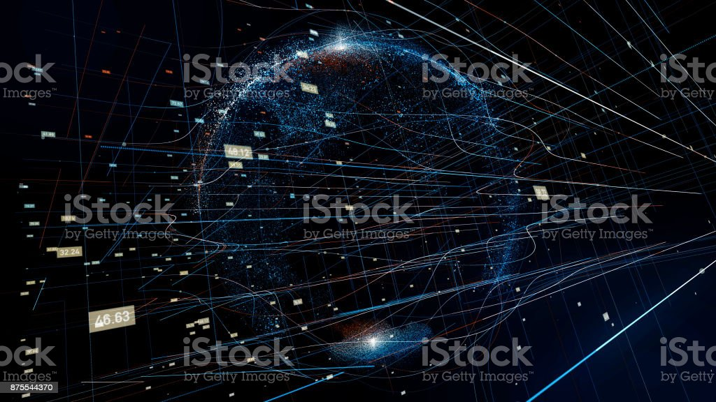 Holographic planet earth. technological background. stock photo