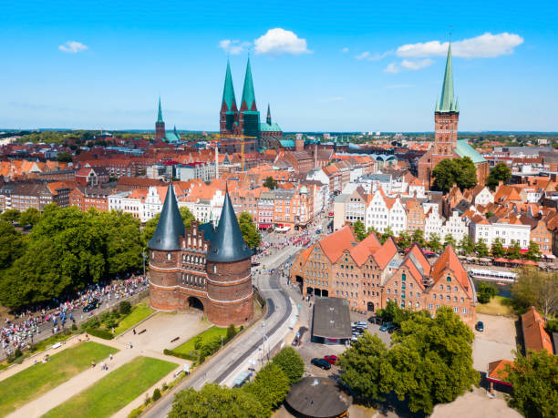 Holstentor city gate in Lubeck stock photo