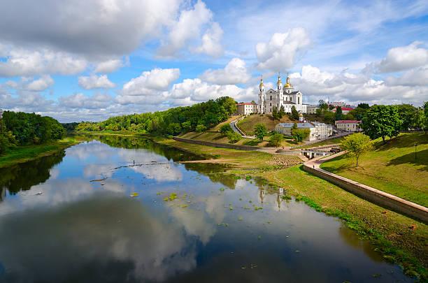 Holy Assumption Cathedral on Uspenskaya mountain above Western Dvina, Vitebsk stock photo