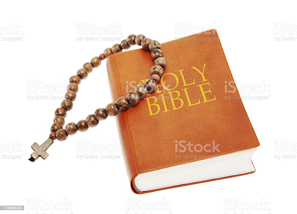 Holy Bible and beads stock photo