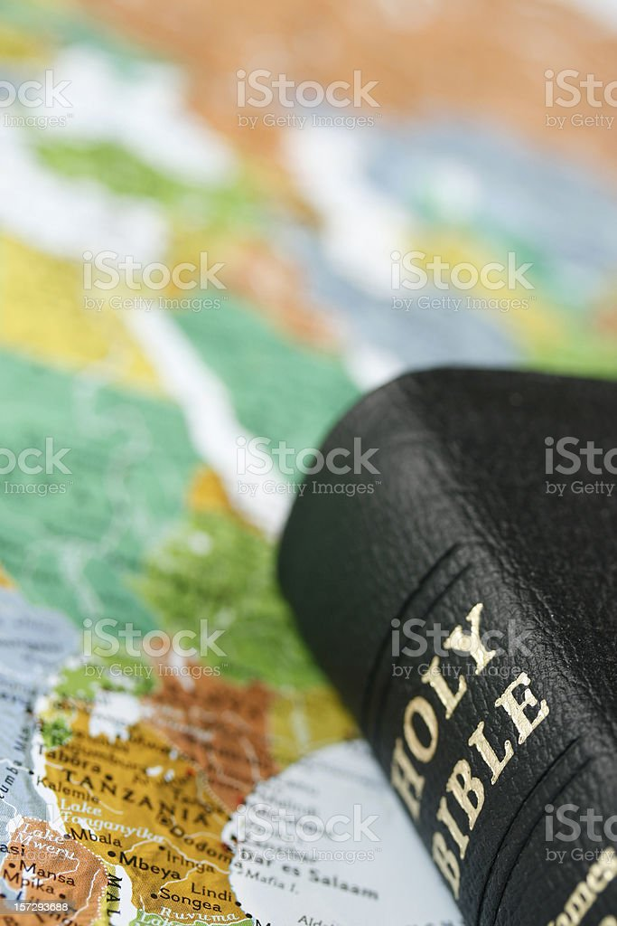 Holy Bible and Map royalty-free stock photo