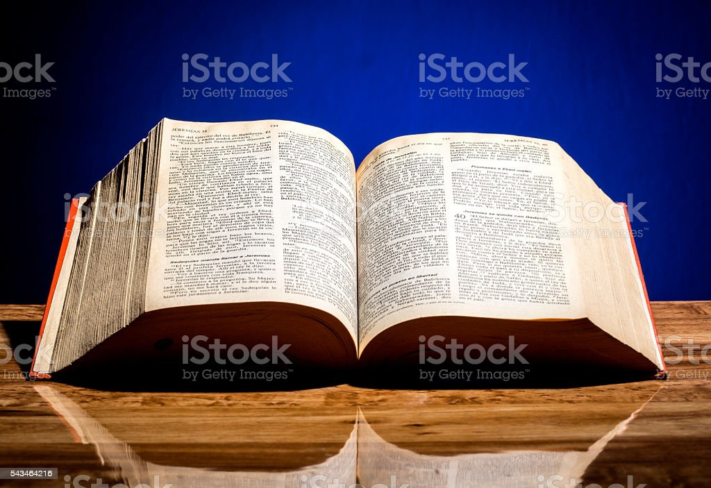 Holy Bible and Rosary stock photo