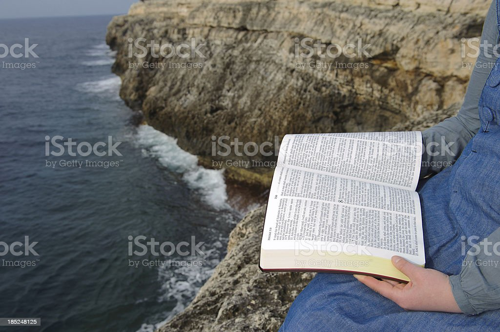 Holy Bible reading stock photo