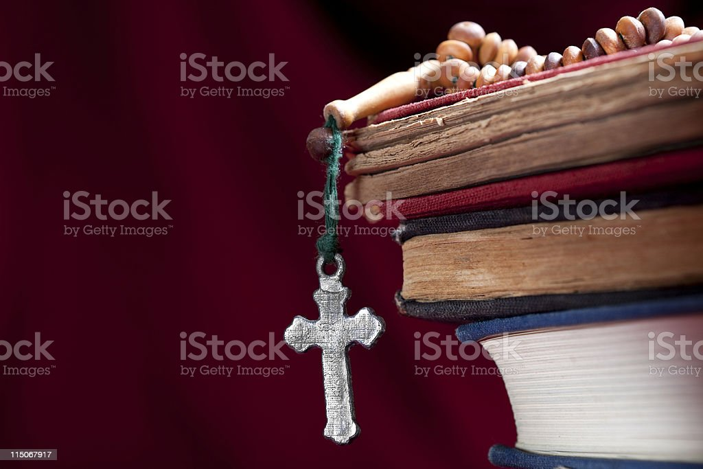 Holy Book and Rosary stock photo