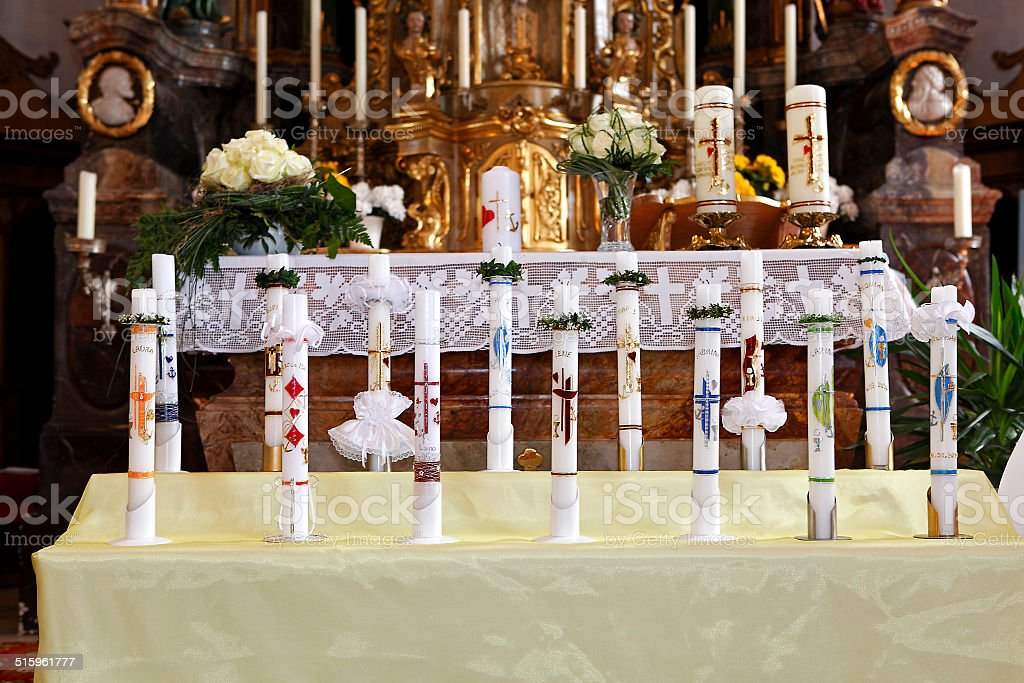 Holy candles at the communion stock photo