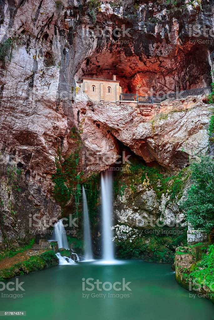 Holy cave  of Covadonga II stock photo