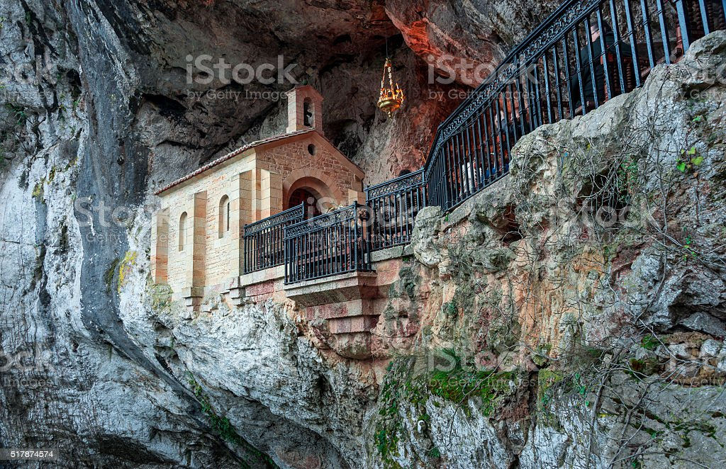 Holy cave  of Covadonga stock photo