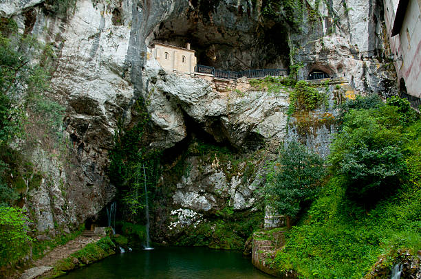 Holy Cave of Covadonga - Spain stock photo