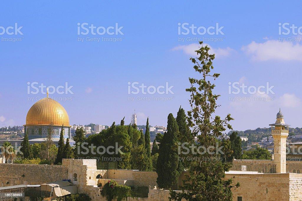 Holy City of Jerusalem is lit by the sun royalty-free stock photo