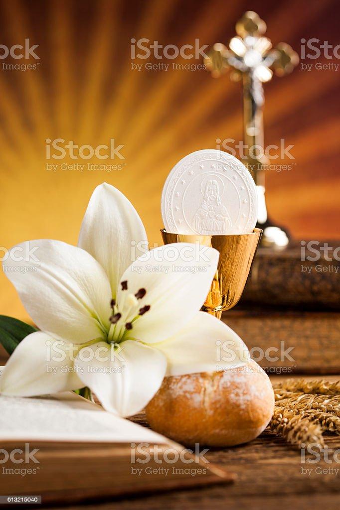 holy communion bread wine for christianity religion ストックフォト