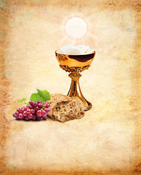 Sagrada comunión para la religión del cristianismo. Composición de la Sagrada comunión - foto de stock
