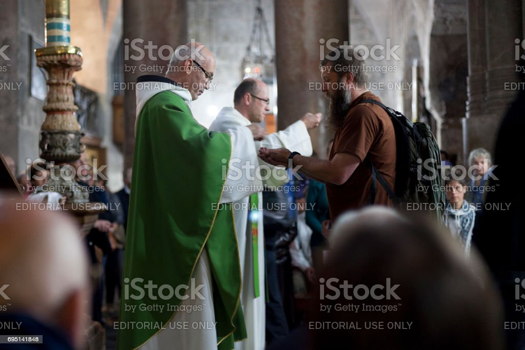 Holy Communion in Holy Sepulchre stock photo