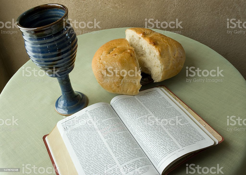 Holy Communion with Bible stock photo