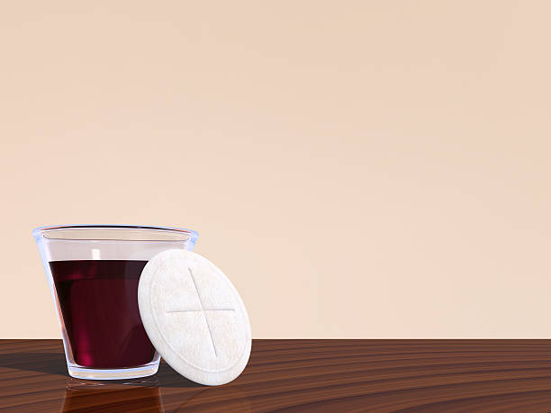 Holy Communion with copy space stock photo