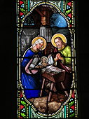Stained glass window representing the Holy Family from the church of Saint-Georges in Saint-Georges-de-Didonne, near La Rochelle, France. Although the artist is unknown, all stained glass windows of the church date back to the 19th century.
