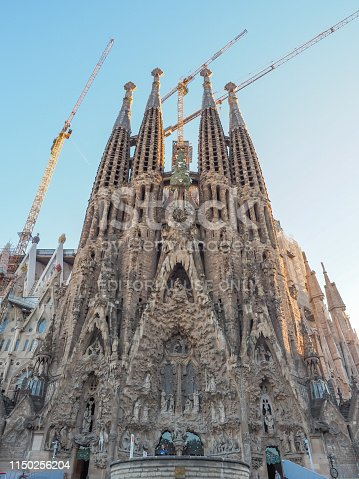 Barcelona, Spain - April 21, 2017: Sagrada Familia church Temple Expiatori de la Sagrada Famalia in Barcelona, Spain. Designed by Antoni Gaudi, UNESCO World Heritage Site.