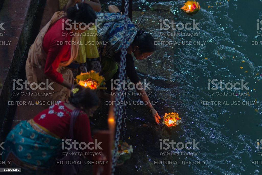 Holy ghats at Haridwar, India stock photo
