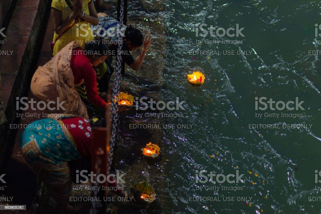 Holy ghats at Haridwar, India stock photo