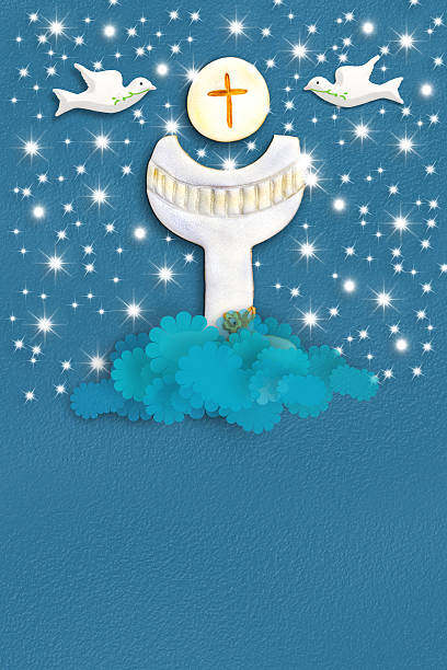 heilige gral kommunion grußkarte - geschenk zur taufe stock-fotos und bilder