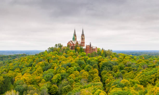 Holy Hill Fall view of the Holy Hill National Shrine of Mary, Help of Christians. milwaukee wisconsin stock pictures, royalty-free photos & images