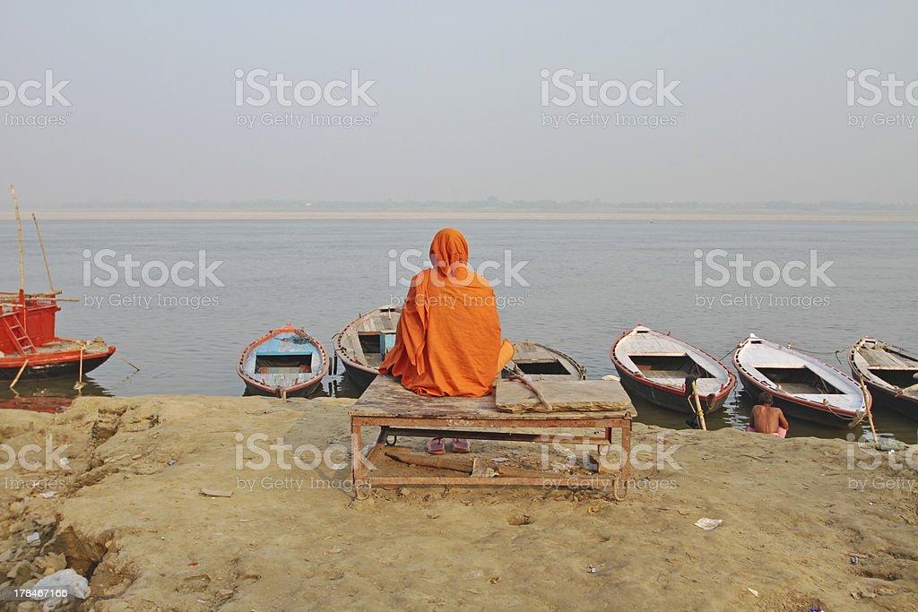 Holy indian Sadhu at the Ganges in Varanasi India royalty-free stock photo