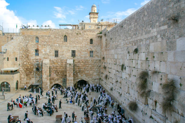 Holy Land Jerusalem, panorama over the Wailing Wall jerusalem old city stock pictures, royalty-free photos & images