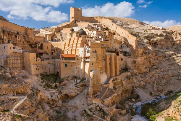 heiligen lawra der heilige sabbas sanctified (mar saba) in der nähe von bethlehem - jerusalem stock-fotos und bilder