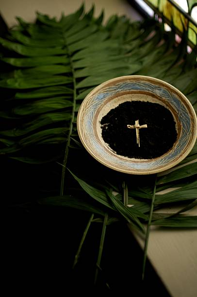 holy lent - ash cross stock photos and pictures